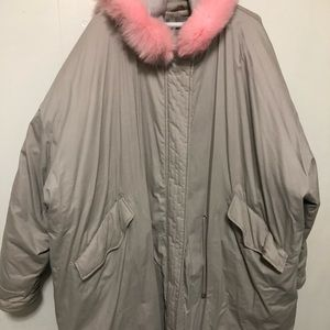 Asos oversized gray parka with pink faux fur hood